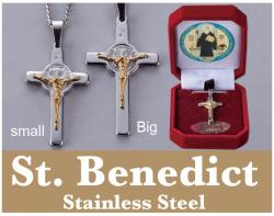 (Small size) Stainless Steel St. Benedict Pendant and chain;
