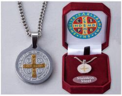 Stainless Steel St.Benedict Medal Pendant&Necklace