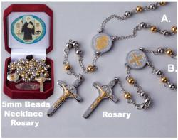Stainless Steel, 5mm beads St. Benedict Rosary