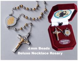 Stainless Steel, 4mm beads St. Benedict Necklace