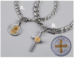 (B) Stainless Steel St. Benedict Medal Bracelet; (B) For Men: