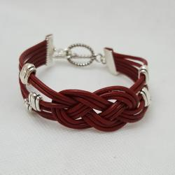 Red Leather Celtic Knot Bracelet