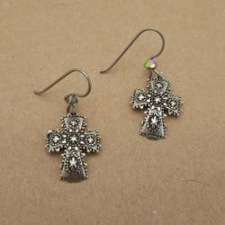 White Bronze cross Earrings