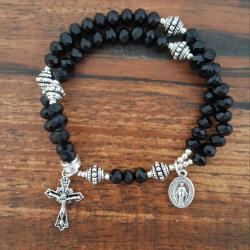 Black Crystal Wrist Rosary