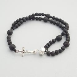 Lava Rock Men's Wrist Rosary Five Decade