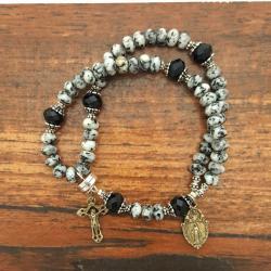 Black Spot Jasper Wrist Rosary