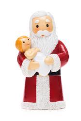 Santa holding baby Jesus statue