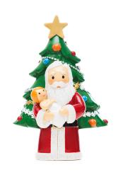 Santa holding baby Jesus with Christmas tree