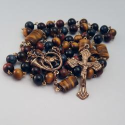 Tiger Eye Solid Bronze St. Hubert Rosary