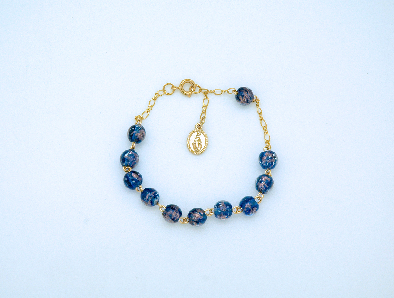 Blue Glass Rosary Bracelet
