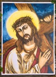 Christ Carrying the Cross - original art print