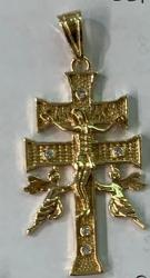 Gold Plated Double Cross With Angels