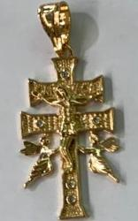 Gold Plated Double Cross with Double Guardian Angels