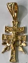 Gold Plated Double Cross With Guardian Double Angels