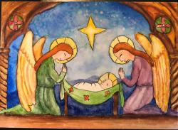 Children's Rosary Christmas Card - Baby Jesus with Holy Angels